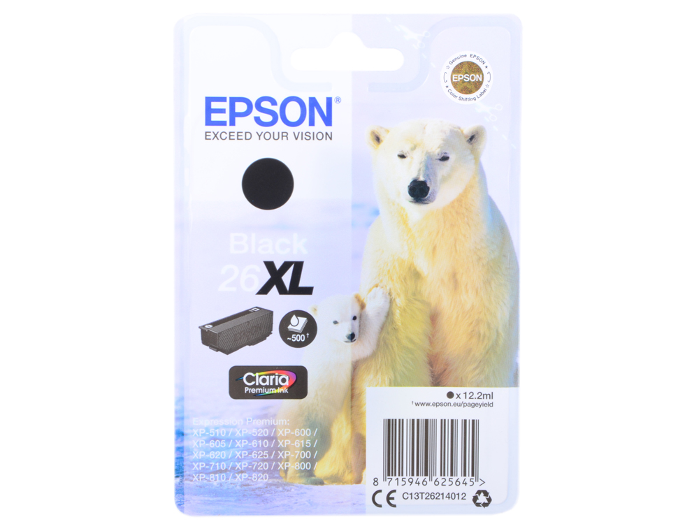 Картридж Epson C13T26214012 для Epson XP-600/605/700/710/800 черный 500стр все цены