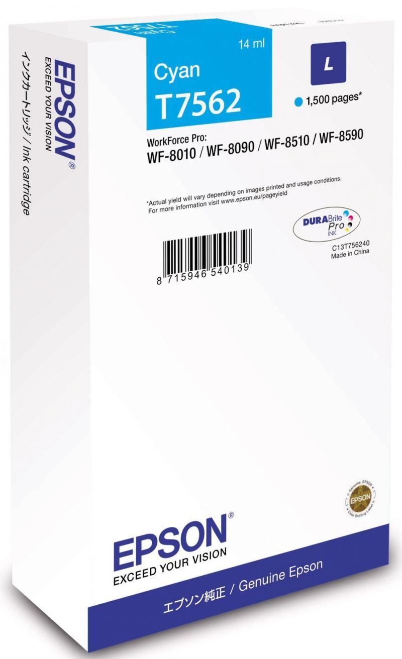 Картридж Epson C13T756240 голубой (cyan) 1500 стр для Epson WorkForce Pro WF-8090/8590
