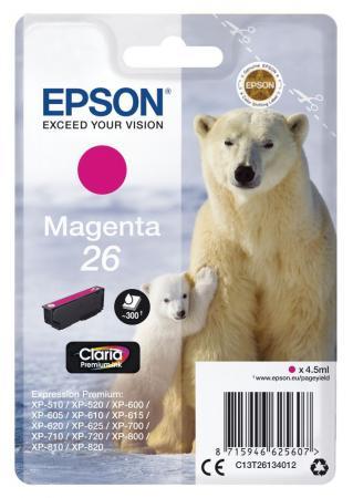 Картридж Epson C13T26134012 пурпурный (magenta) 300 стр для Epson Expresion Premium XP-510/600/605/700/710/800/810/820 чернильный картридж epson c13t03434010 magenta