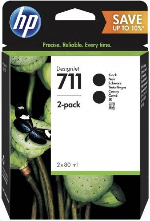 цена на Картридж HP 711 (P2V31A) черный (black) 2x80 мл для HP DesignJet T120/520