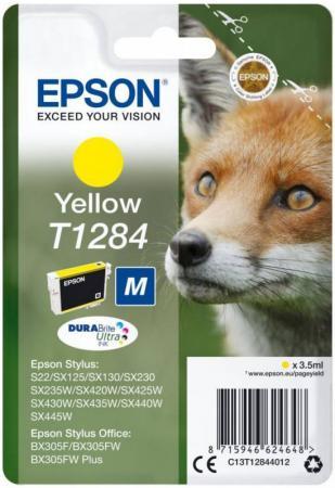 Картридж Epson C13T12844012 желтый (yellow) 225 стр для Epson Stylus S22 / SX125/130/230/235/420/425/430/435/440/445 / Office BX305 картридж epson t0804 yellow c13t08044011