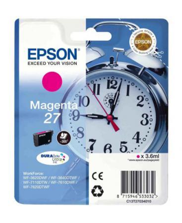 Картридж струйный Epson C13T27034020 пурпурный (magenta) 300 стр для Epson WorkForce WF-3620/3640/7110/7210/7610/7620/7710