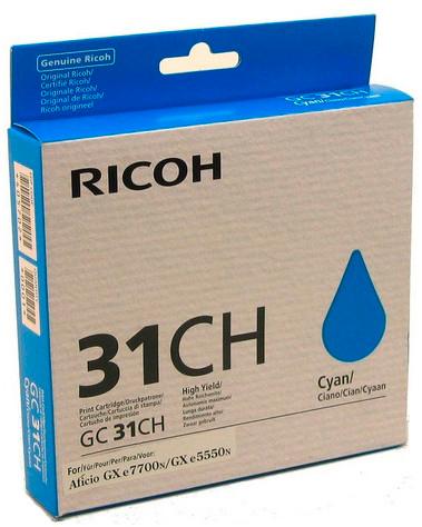 цена на Картридж Ricoh GC 31CH голубой (cyan) 4360 стр для Ricoh Aficio GX e2600/e3300N/e3350N/e5550N