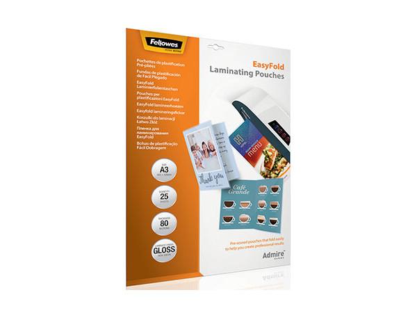 Плёнка для ламинирования Fellowes EasyFold A3 (56020), 80 мкм, глянцевая, 25 шт. цена 2017