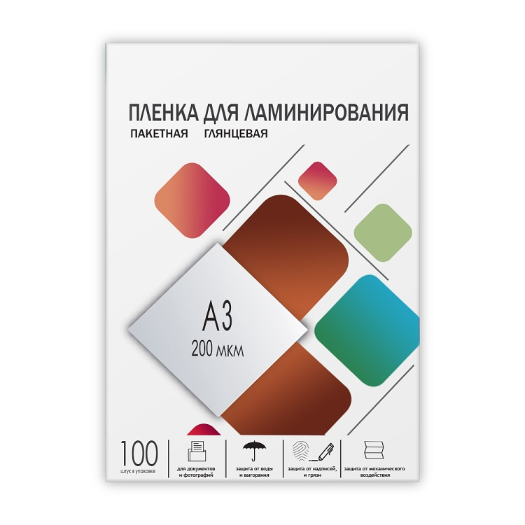 Пленка для ламинирования ГЕЛЕОС А3, (303х426), (200 мик), 100 шт. обложки для переплета картонные гелеос cca3w а3 тиснение под кожу белые 100 шт