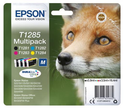 Картридж Epson C13T12854012 для Epson St S22/SX125/SX420W/Of BX305F цветной картридж t2 ic et1284 yellow для epson stylus s22 sx125 sx130 sx230 sx420w office bx305f с чипом