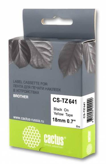 Картинка для Лента Cactus CS-TZ641 черный (black) 18 мм x 8 м для Brother 1010/1280/1830VP/7600VP