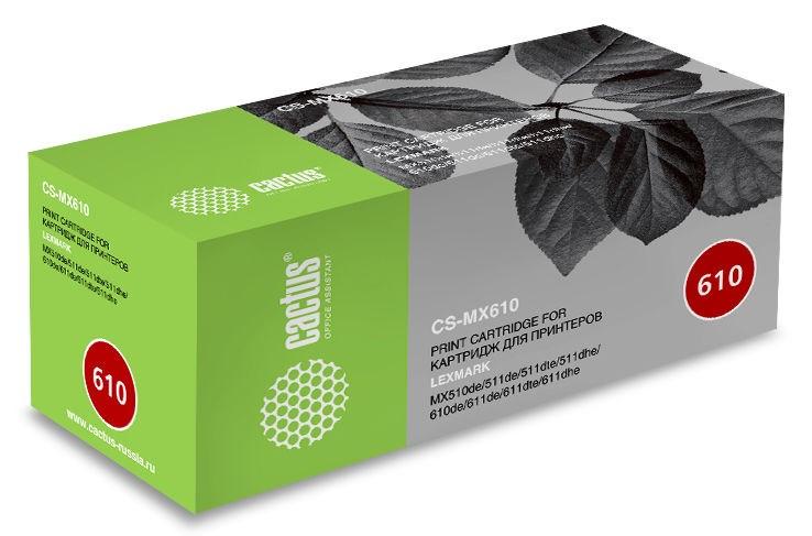 цена на Картридж Cactus CS-MX610 черный (black) 10000 стр. для Lexmark MX 310/410/510/511/610/611