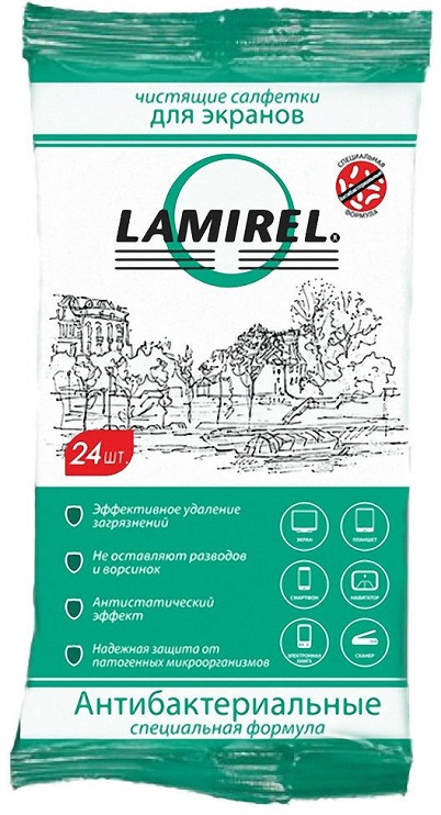 Влажные салфетки Fellowes Lamirel LA-21617(01) 24 шт влажные салфетки fellowes lamirel la 1144001 100 шт