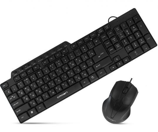 цена на Комплект Crown CMMK-520B Black USB 1000dpi, 3 кнопки + колесико