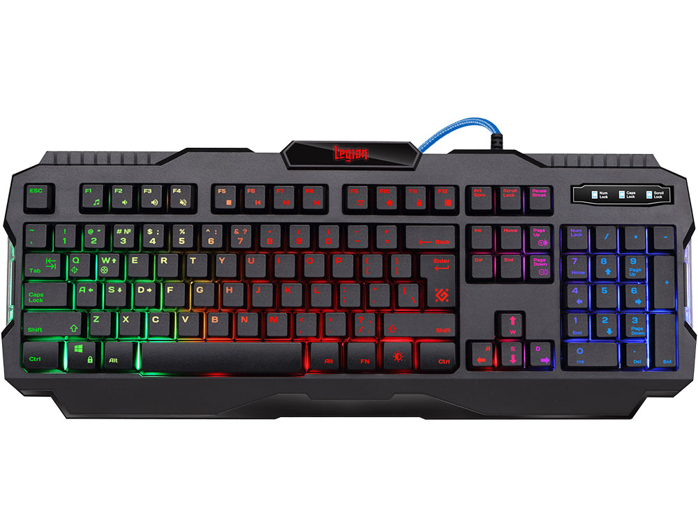 Клавиатура игровая DEFENDER Legion GK-010DL RU,RGB подсветка,19 Anti-Ghost,USB клавиатура defender werewolf gk 120dl 45120