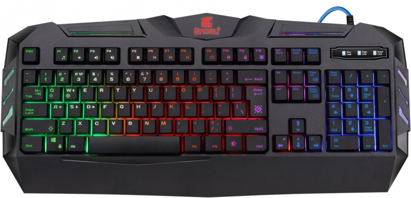лучшая цена Клавиатура игровая DEFENDER Werewolf GK-120DL RU,RGB подсветка,19 Anti-Ghost, USB