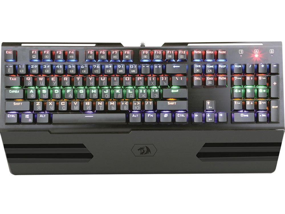 лучшая цена Клавиатура проводная игровая Redragon Hara RU механическая, радужная подсветка