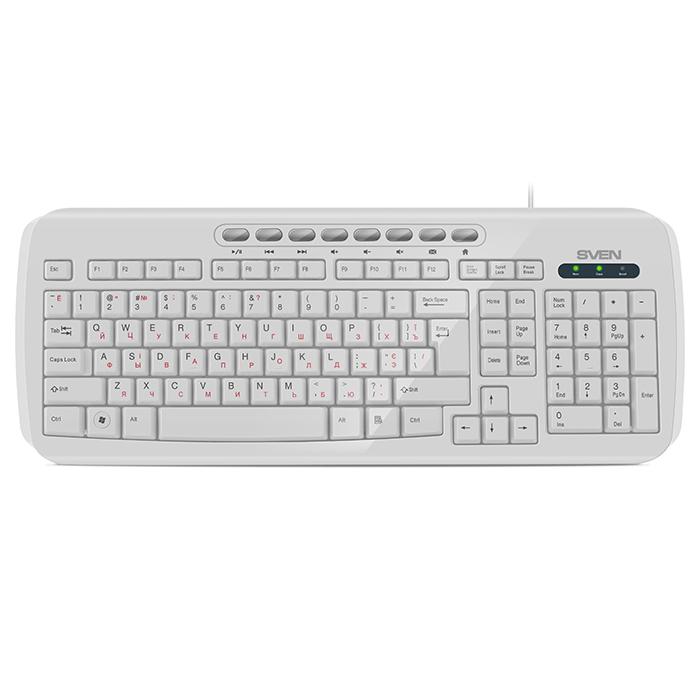 лучшая цена Клавиатура Sven KB-C3050 White USB проводная, 112 клавиш + 8
