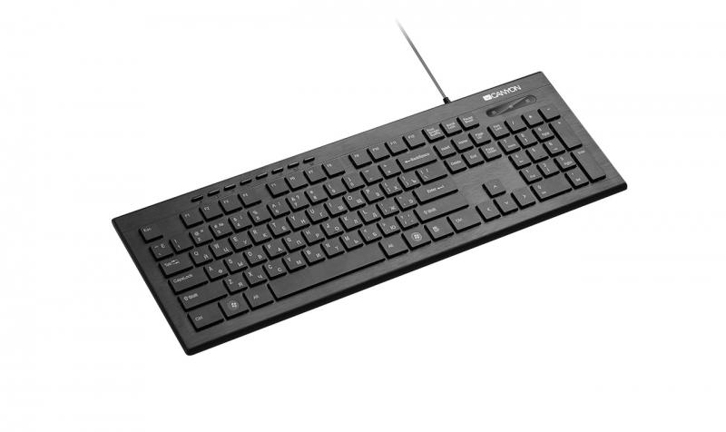 Клавиатура CANYON CNS-HKB2-RU, ультратонкая, Кл:104+8М, USB черный, покрытие устойчиво к отпечаткам пальцев, декоративная LED-подсветка клавиатура canyon cns hkbw2 2 4ghz wireless keyboard 104 keys slim design chocolate key caps ru layout black
