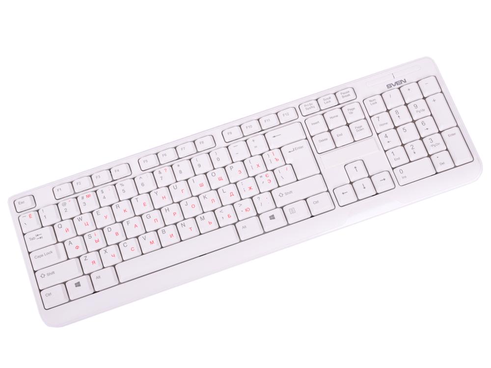 Клавиатура беспроводная SVEN KB-C2200W белая (2,4 GHz, 104кл, 1*ААА в компл.) цена
