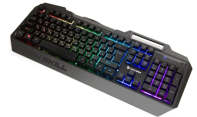 лучшая цена Клавиатура игровая QCYBER IRON SKILL, RGB подсветка, металлический корпус, подсветка двух шрифтов, держатель для телефона, тканевый кабель.