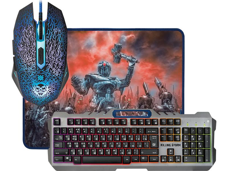 Игровой набор Defender Killing Storm MKP-013L RU Black USB клавиатура: 104 клавиши / мышь: оптическая, 3200dpi, 5 кнопок + колесико / Ковер 360x270x3 мм