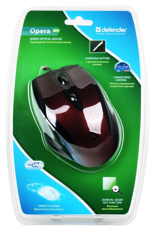 Мышь Defender Opera MB-880R (Красный), USB 5кн+1кл-кн, оптика мышь defender беспроводная ayashi ms 325 sakura pink 5кн кл 1000 1500 2000 dqp unlk