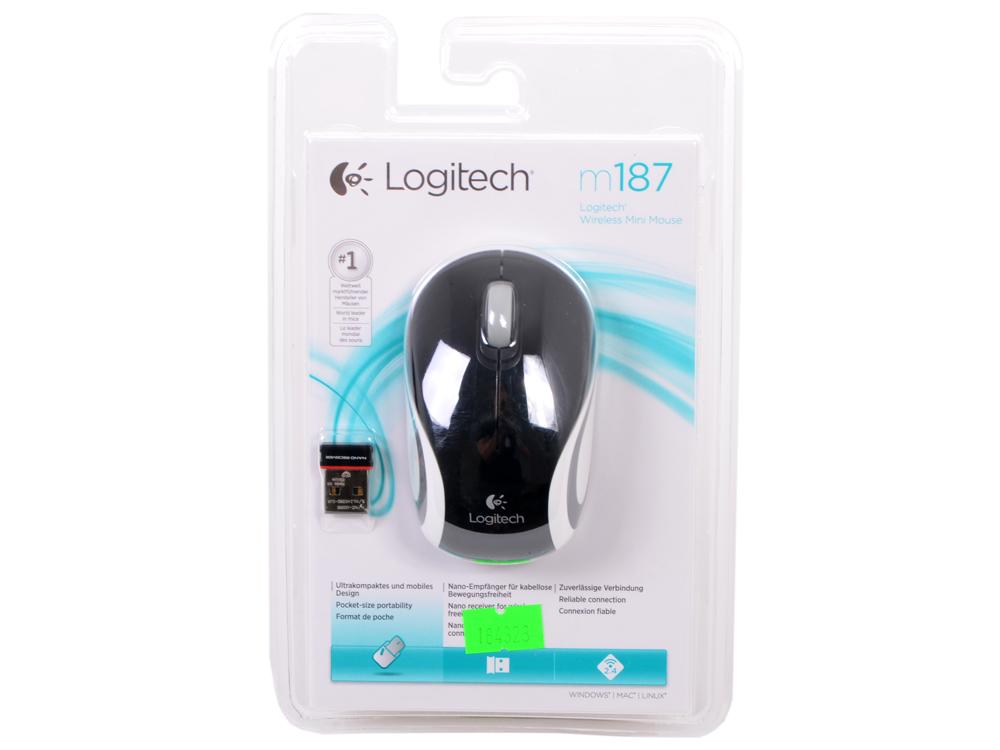 лучшая цена Мышь беспроводная Logitech M187 Black USB(Radio) оптическая, 1000 dpi, 2 кнопки + колесо