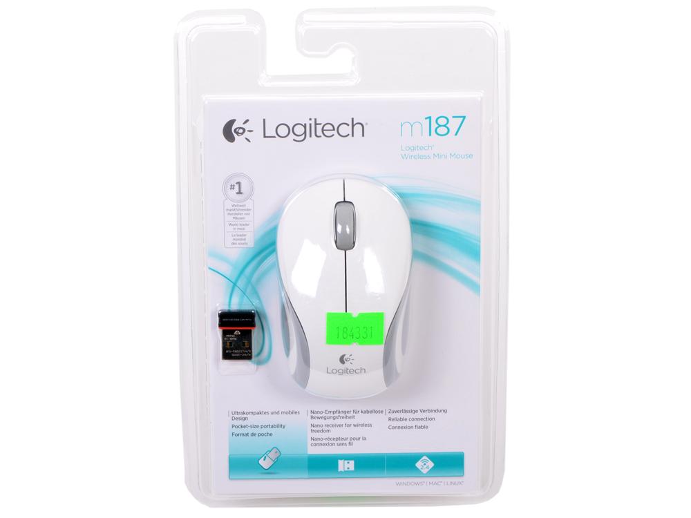 лучшая цена Мышь беспроводная Logitech M187 White USB(Radio) оптическая, 1000 dpi, 2 кнопки + колесо