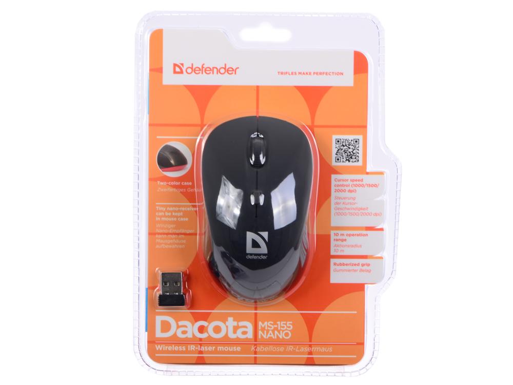 Мышь беспроводная Defender Dacota MS-155 Nano Black/Red USB(Radio) оптическая, 2000 dpi, 2 кнопки + колесо комплект клавиатура мышь defender berkeley c 925 nano black usb 45925