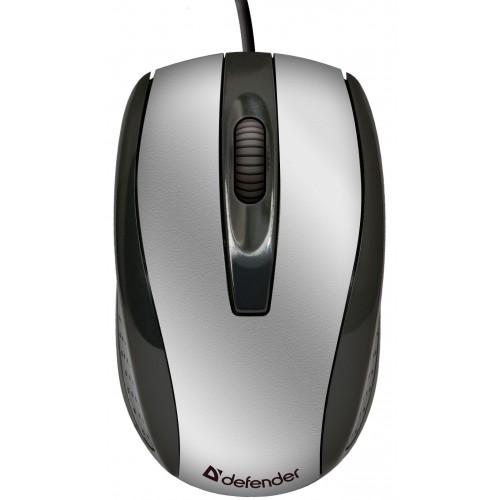 цена на Мышь Defender Optimum MM-140 Black/Silver USB проводная, оптическая, 800 dpi, 2 кнопки + колесо