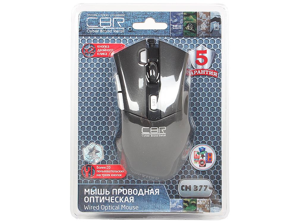 Мышь CBR CM-377 Black , оптика, кнопка двойной клик, 1200/1600/2400/3200 dpi, 6 кн., провод 1,3 м, USB аксессуар сумка 15 6 cbr cnb 03 15 black gray