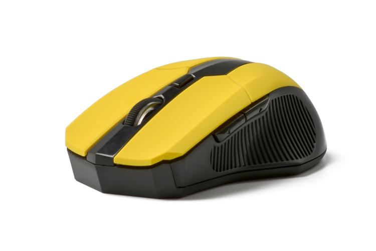 лучшая цена Мышь беспроводная CBR CM-547 Yellow USB оптическая, 2400 dpi, 5 кнопок + колесо