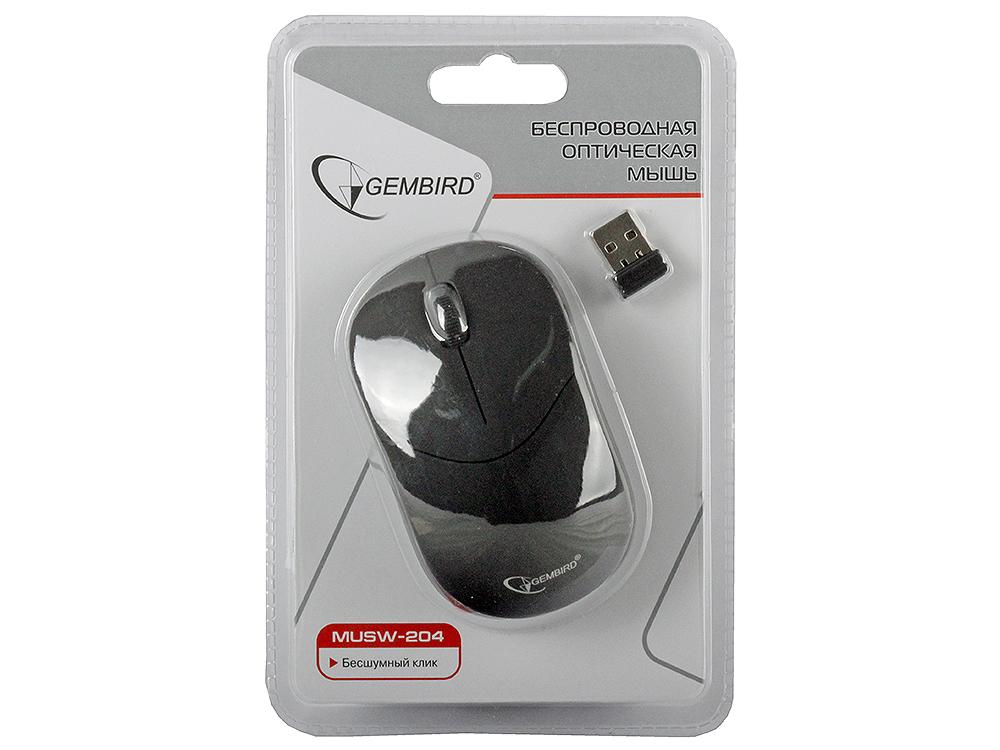 лучшая цена Мышь беспроводная Gembird MUSW-204 Black USB оптическая, 3 кнопки + колесо