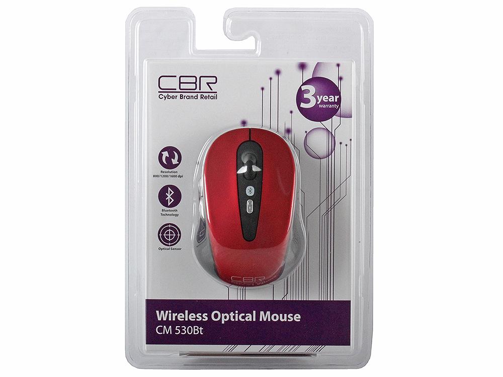 Мышь беспроводная CBR CM-530Bt Red BT оптическая, 2400 dpi, 5 кнопок + колесо cbr cm 344 мышь черный
