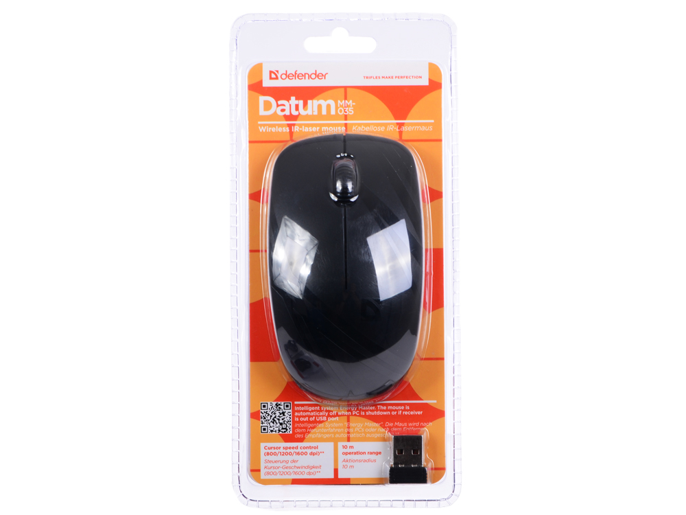 Мышь Defender Datum MM-035 черный,3 кнопки,800-1600 dpi IR-лазерная defender datum mm 025 black беспроводная лазерная мышь