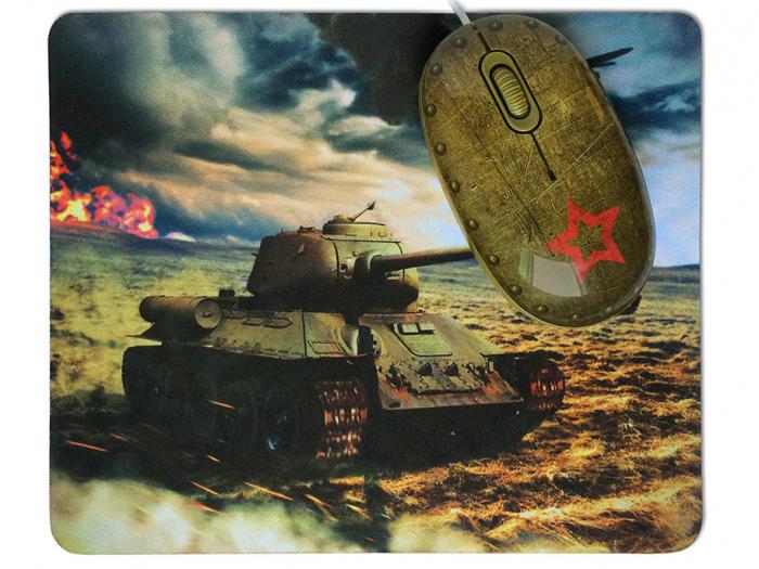 Мышь CBR Tank Battle Pattern USB проводная, оптическая, 1200 dpi, 2 кнопки + колесо цена и фото