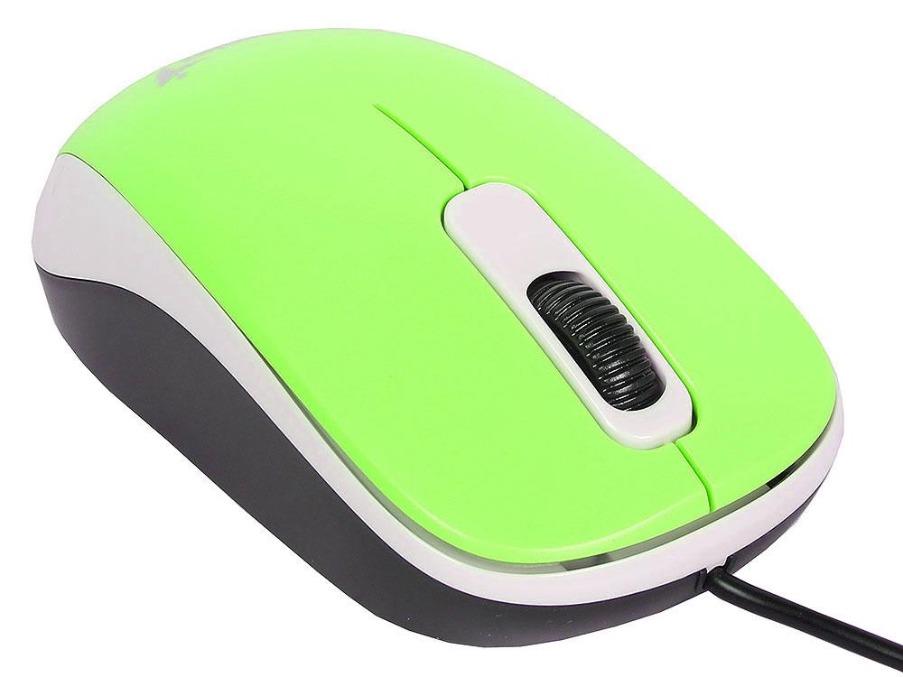 лучшая цена Мышь Genius DX-110 Green USB проводная, оптическая, 1200 dpi, 2 кнопки + колесо