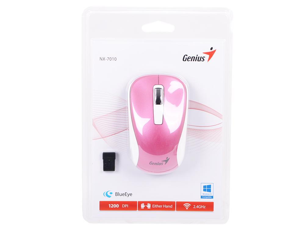 Мышь беспроводная Genius NX-7010 Purple USB(Radio) оптическая, 800 - 1600 dpi , 3 кнопки + колесо мышь genius nx 7010 magenta