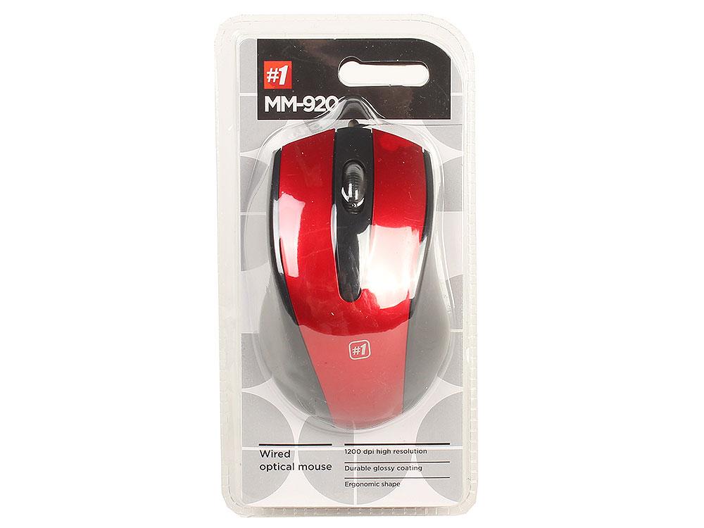 Мышь Defender MM-920 Black/Red USB проводная, оптическая, 1200 dpi, 2 кнопки + колесо