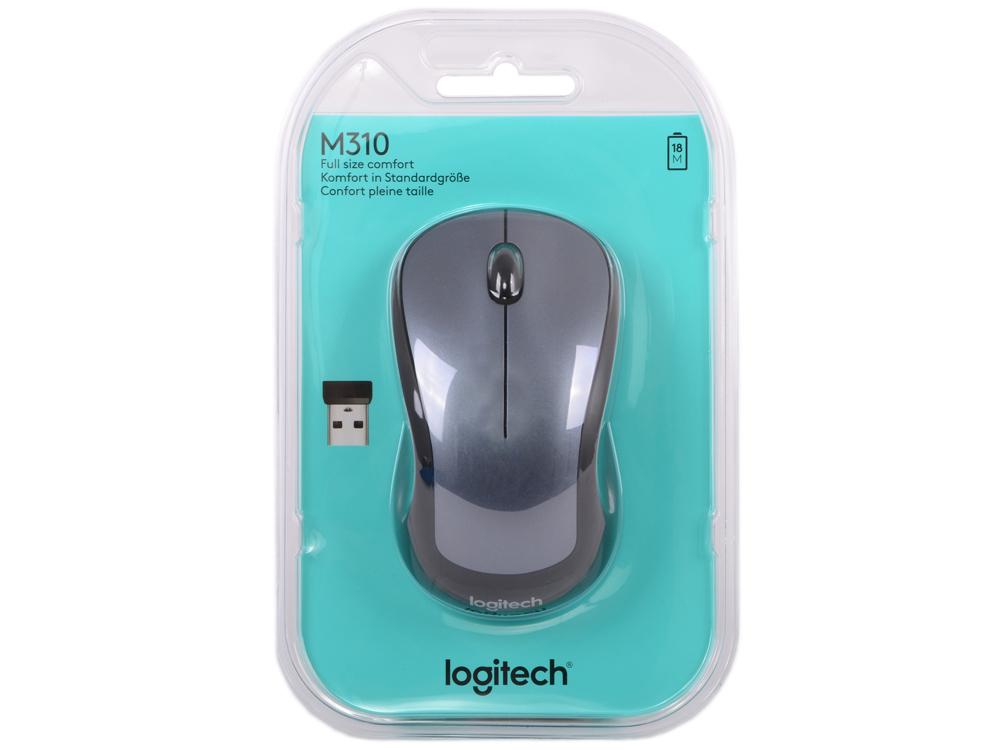 лучшая цена Мышь беспроводная Logitech Wireless Mouse M310 Silver USB оптическая, 1000 dpi, 3 кнопки + колесо