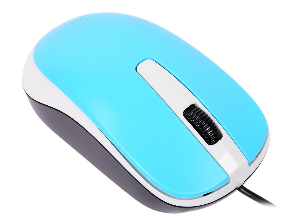 Мышь проводная Genius DX-120 голубой USB