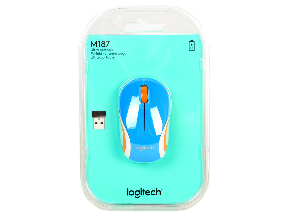 Мышь (910-002733) Logitech Wireless Mini Mouse M187, Blue мышь logitech wireless mini mouse m187 black white usb