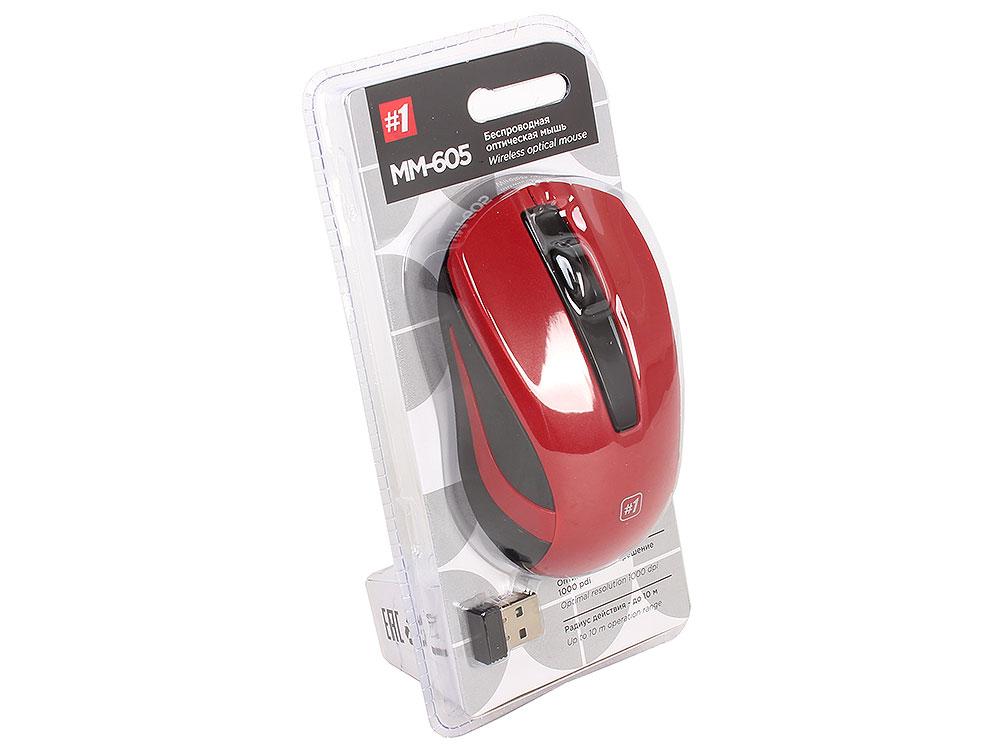 Беспроводная оптическая мышь Defender MM-605 красный,3 кнопки,1200dpi цена и фото