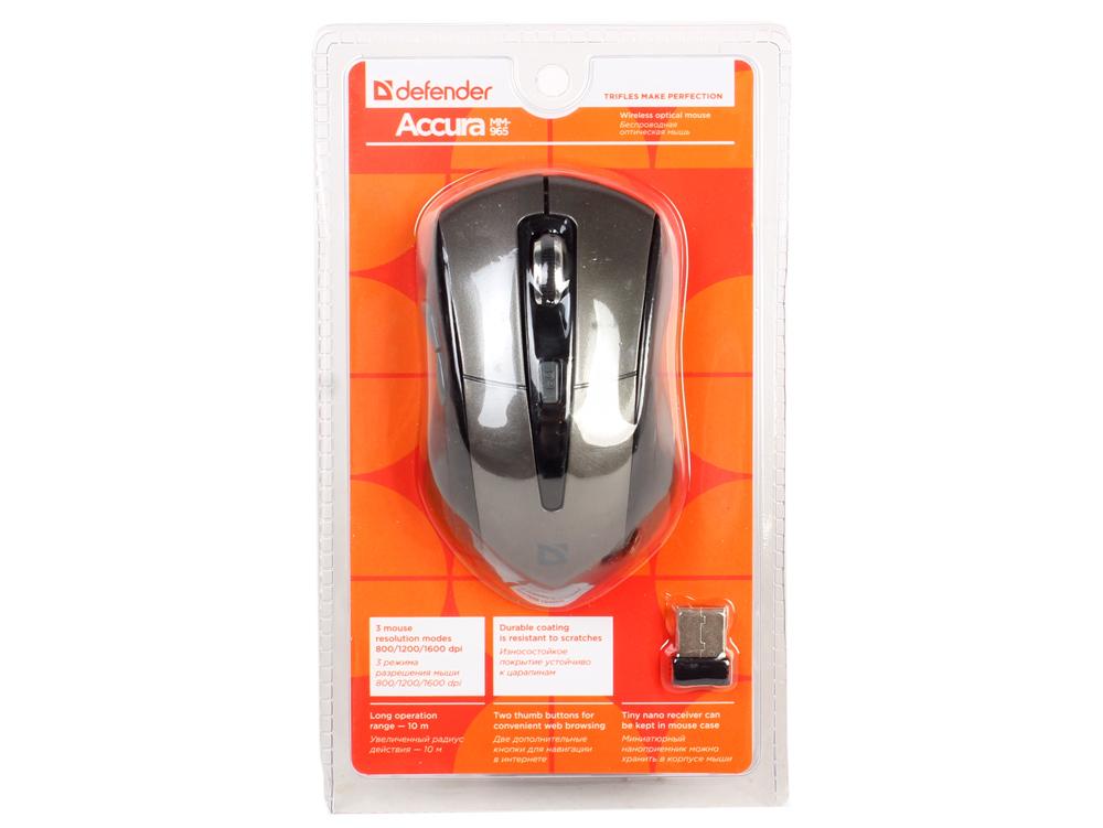 лучшая цена Мышь беспроводная Defender Accura MM-965 Brown USB( Radio) оптическая, 800/1200/1600 dpi, 5 кнопок + колесо