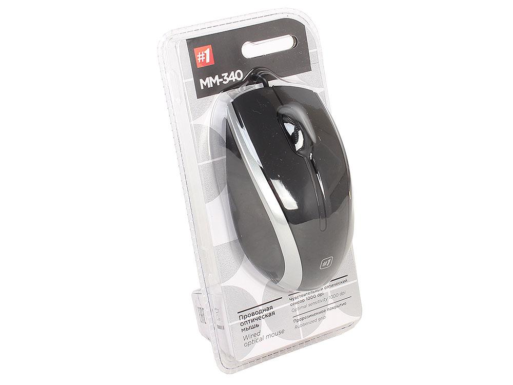 Мышь Defender MM-340 Black Gray USB проводная, оптическая, 1000 dpi, 3 кнопки + колесо мышь defender ms 960 black red usb проводная оптическая 1000 dpi 3 кнопки колесо