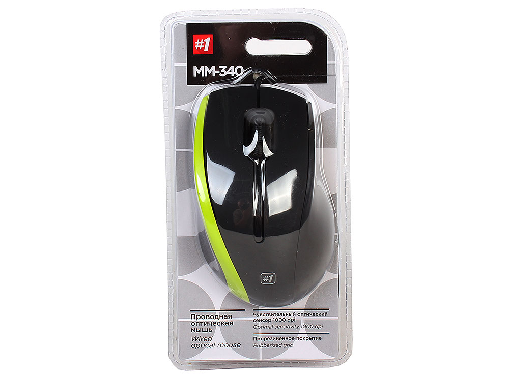 Мышь Defender MM-340 Black Green USB проводная, оптическая, 1000 dpi, 3 кнопки + колесо мышь defender ms 960 black red usb проводная оптическая 1000 dpi 3 кнопки колесо