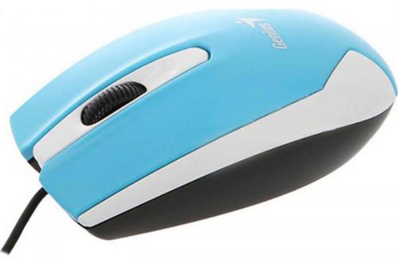 Мышь проводная Genius DX-100X голубой белый USB