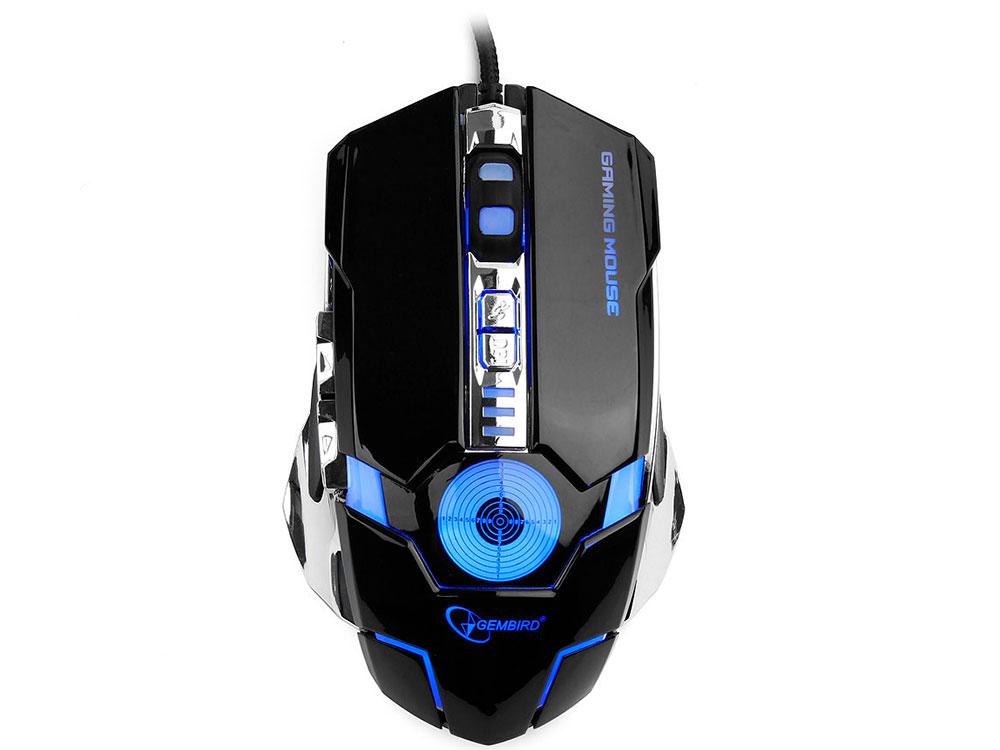 Мышь Gembird MG-530 Black/Silver USB проводная, оптическая, 3200 dpi, 5 кнопок + колесо мышь проводная gembird mg 510 чёрный usb