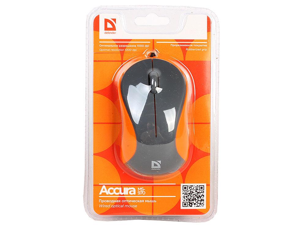 цена на Мышь Defender Accura MS-970 Grey/Orange USB проводная, оптическая, 1000 dpi, 2 кнопки + колесо