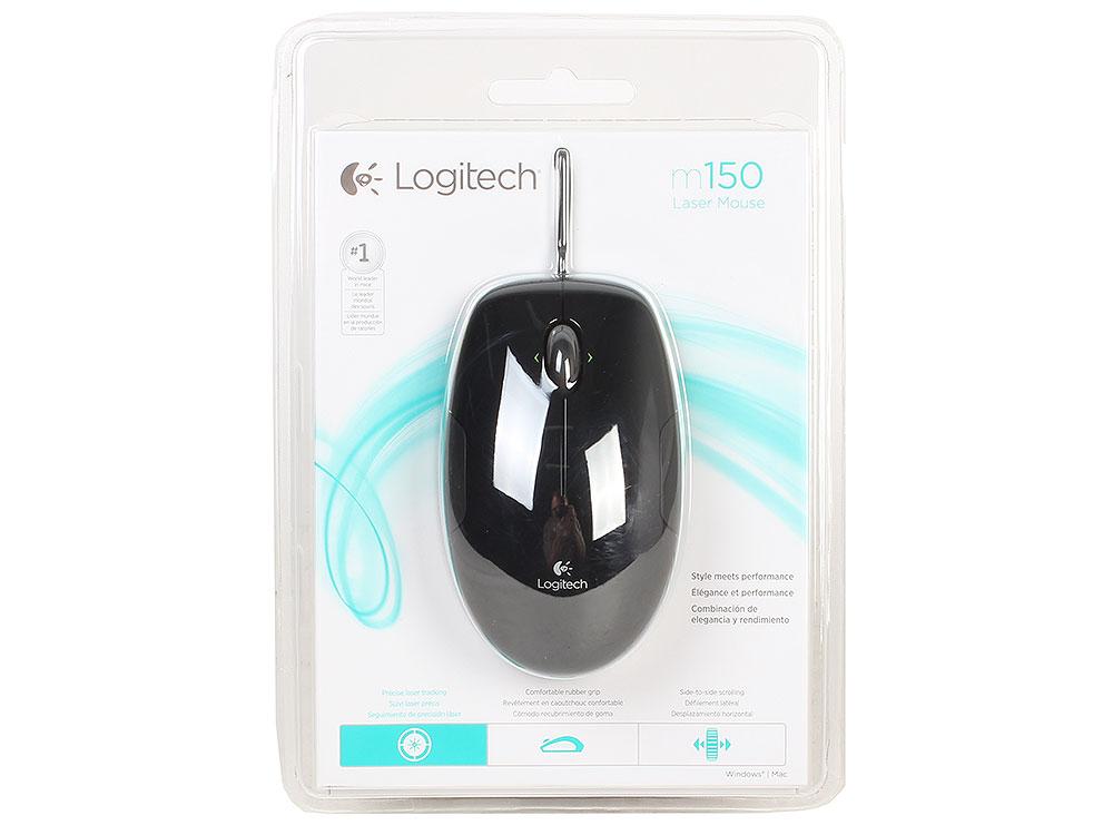 Мышь Logitech M150 Laser Mouse Black USB проводная, лазерная, 1100 dpi, 3 кнопки + колесо мышь logitech m150 grape jaffa flash 910 003753
