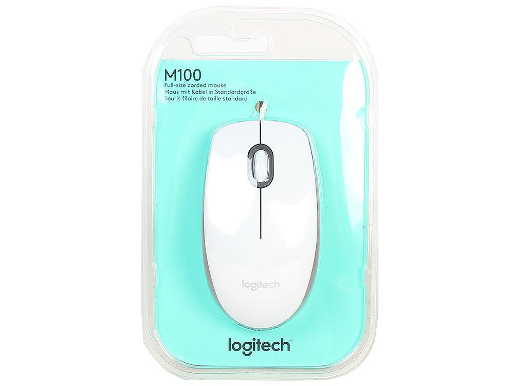 Мышь Logitech M100 White USB проводная, оптическая, 1000 dpi, 2 кнопки + колесо проводная мышь ibm thinkpad usb 0b47153