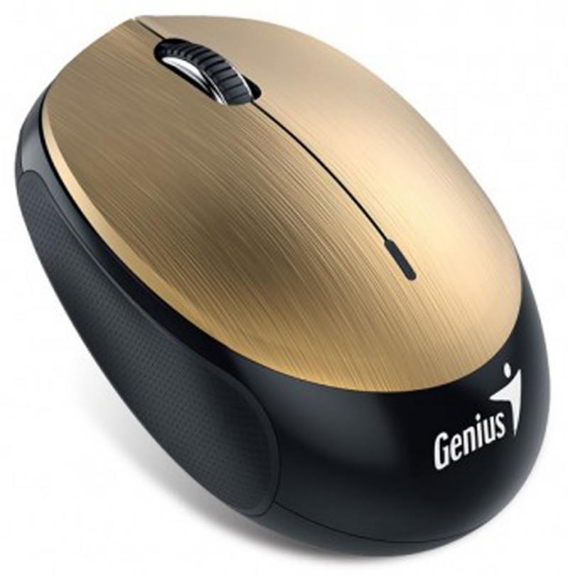 Мышь Genius Micro Traveler 9000BT V2 Gold, Bluetooth V4.0, компактная, прорезиненные вставки, оптическая, 800/1000/1200/1600 dpi, аккумулятор, USB