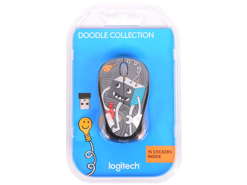 Мышь (910-005049) Logitech Wireless Mouse M238 Doodle Collection LIGHTBULB цены